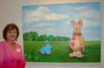 Nancy with her Landscape with Rabbits
