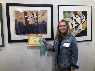 Lori Jenkins with the Sandy Johnson Memorial Award winning piece